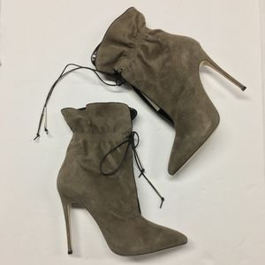 ALEJANDRO INGELMO Suede Cinch Ankle Boots